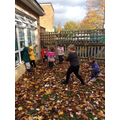 We enjoyed spotting signs of autumn and playing in the leaves.