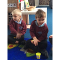 Strengthening our finger muscles with dough disco, this is so important for writing.