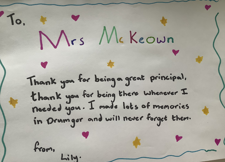 Lily's thank you card.
