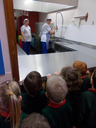 We went to the school kitchen