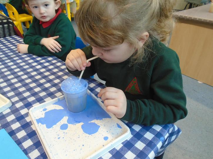 bubble painting with shades of blue