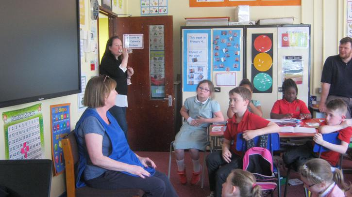 Interviewing Mrs Hamilton on Craigavon's history.