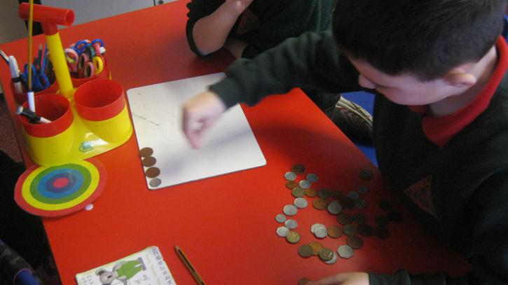 Counting and ordering money.