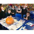 Getting ready to carve our pumpkin.......patiently waiting!!!!