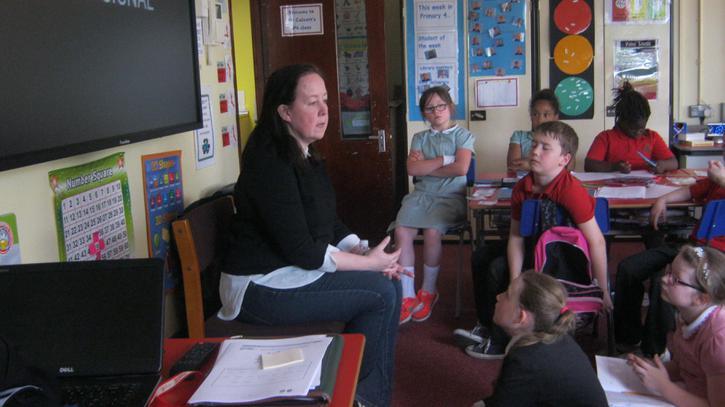 Interviewing Mrs Parnham on Craigavon's history.