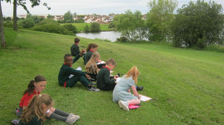 Landscape drawing at Craigavon Lakes.