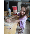 Enjoying making playdough
