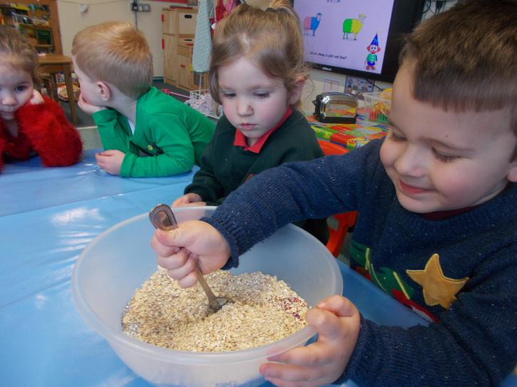Making reindeer food for Rudolph and his friends