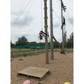 Acrobatics on the high ropes course.