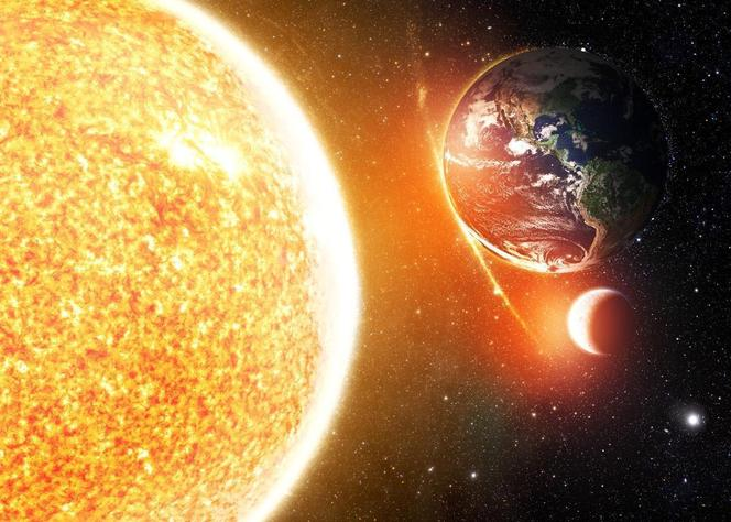 Space The Moon, Earth and Sun. Their orbits and rotations.