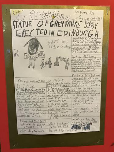 Joseph's news article on Greyfriars Bobby (Y3)