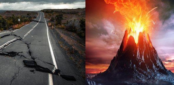 Earthquakes and volcanoes.