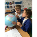 Using the globe to locate Europe in LKS2
