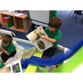 Reading in our Reading Boat.