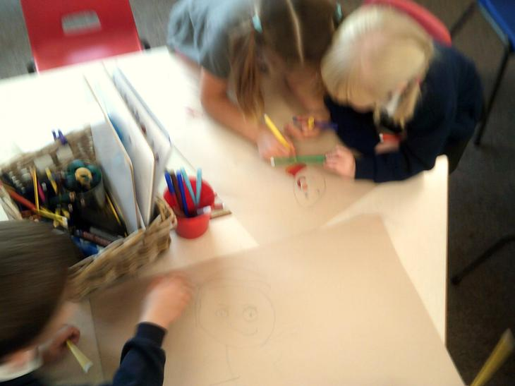 Just talk week - children drawing their ideas of what a healthy person is.