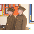 Attention!  Wearing WW1 British solider's uniforms