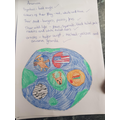 A Yr5 pupil designed her own version of USA flag