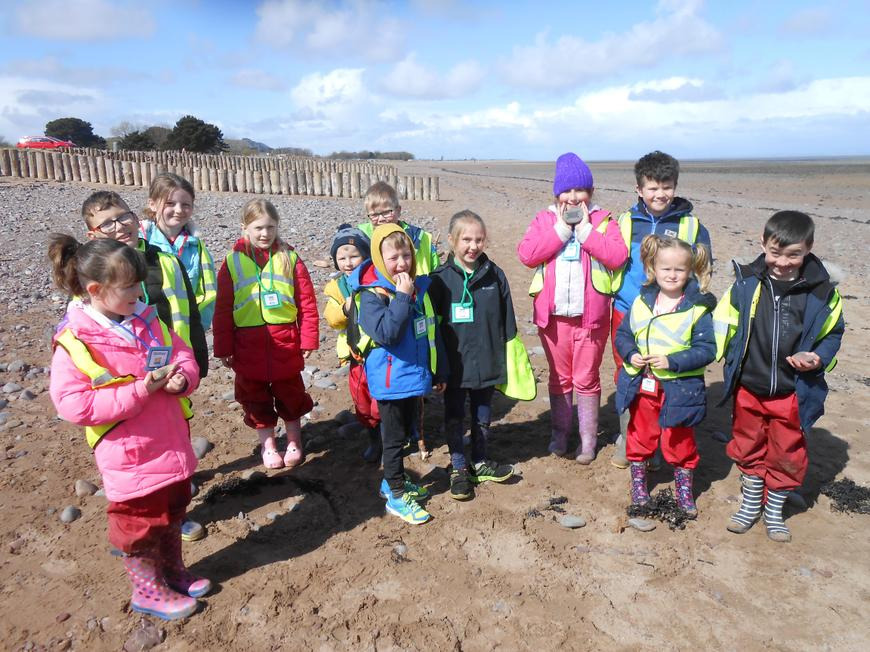 The Eco Action Team with their 'pebble pledges'.
