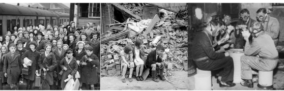 Photo 1: Evacuee children at a train station. Photo 2: Ruins of a house after an air raid. Photo 3: Friends playing a card game in gas masks.