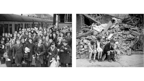Evacuee children from Bristol arriving in Devon, and children sitting outside what remains of their bombed home.