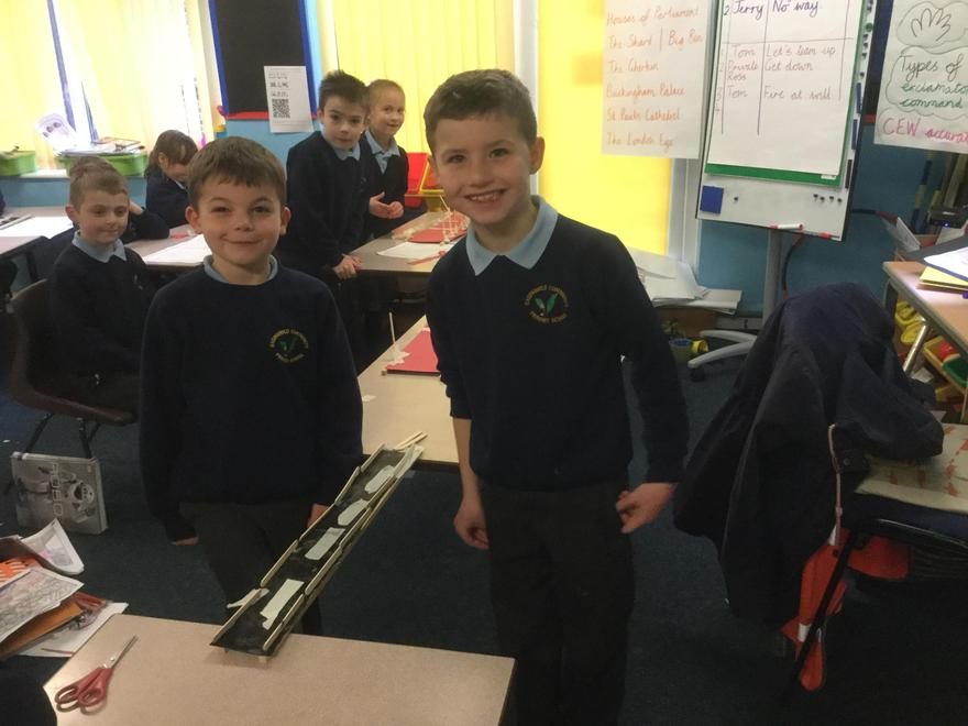 In DT we have designed and made bridges. Here is one being tested.
