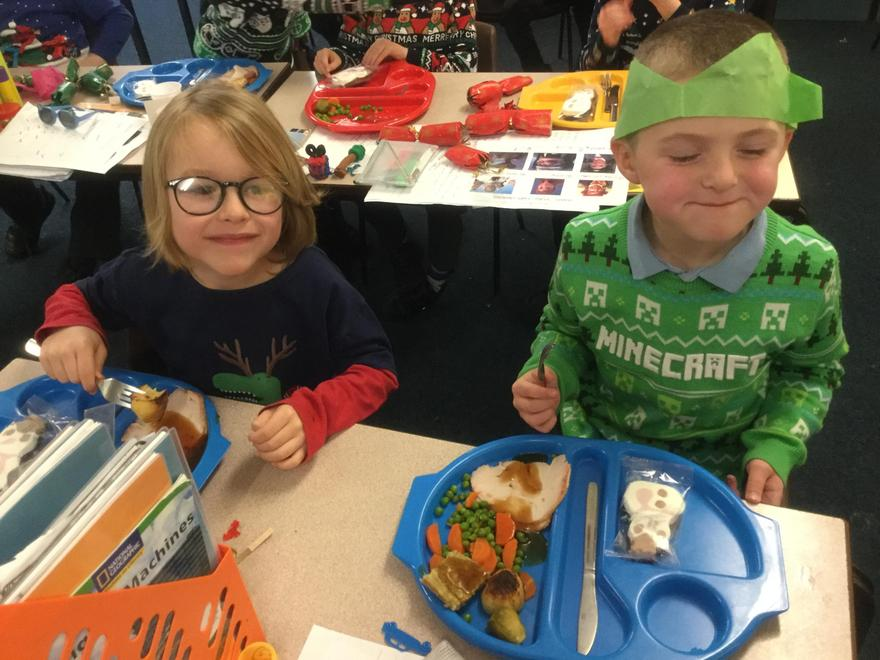 We love Christmas Dinner, especially when we are wearing our Christmas jumpers.