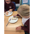 Then we put the two pieces of bread together