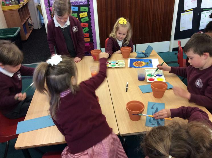 Painting flower pots with Sanders