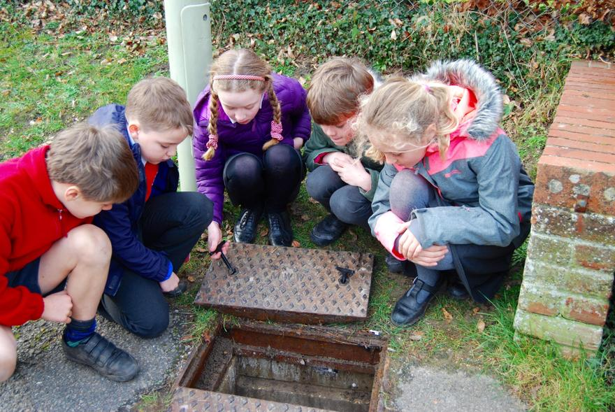 The Eco Team fascinated by the water meter!