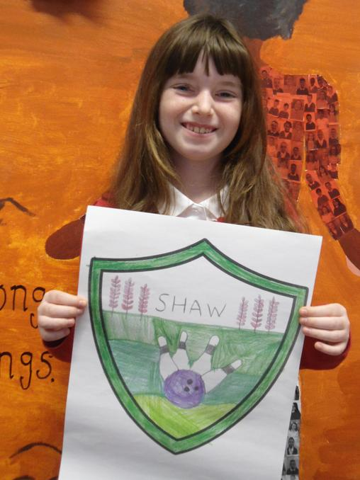 Jessica C with Shaw House flag
