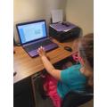 Annabelle working hard on her maths