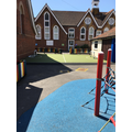 Foundation Stage playground with football pitch.
