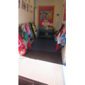 Butterfly cloakroom, hang up coats and PE bags.