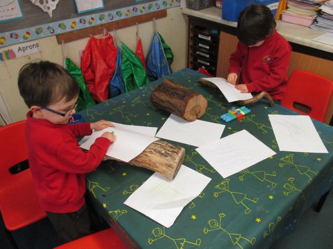 We explored texture by doing rubbings