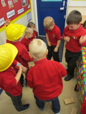Working together to build a tower!