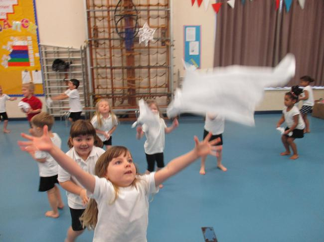 We practised throwing and catching.