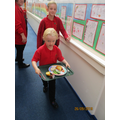 We are superheroes carrying our own dinner trays!