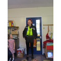 Miss Furness modelling the police uniform :)