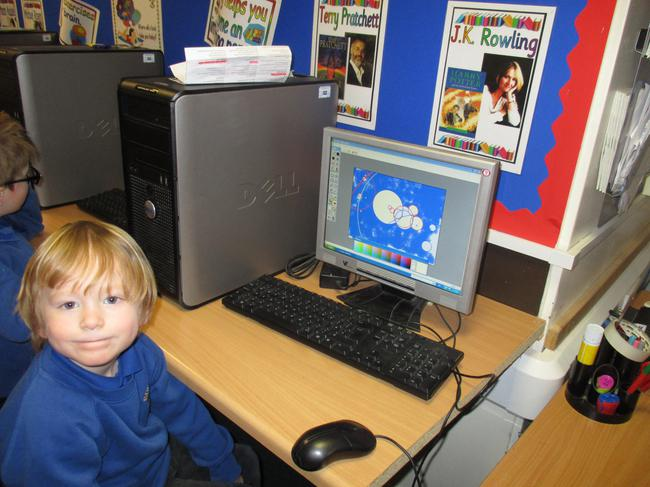 We used the computers to make winter pictures.