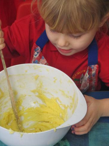 Physical Development - folding in the flour