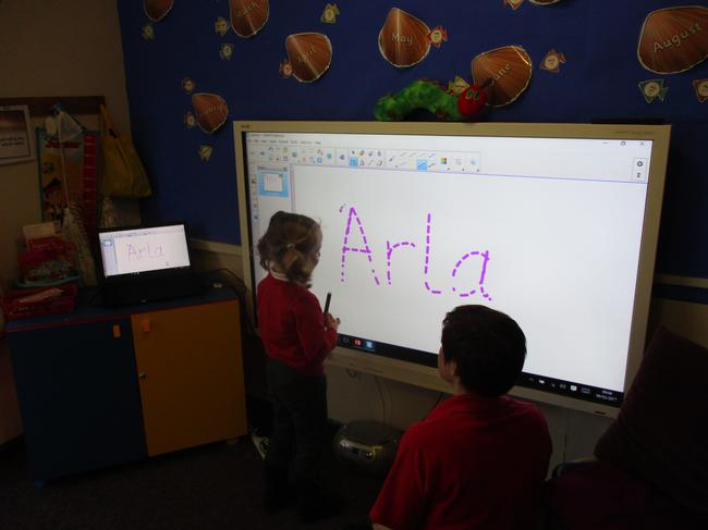 Smart board name writing practice!