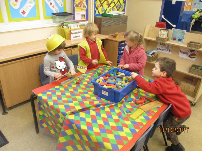 Building with the construction toys