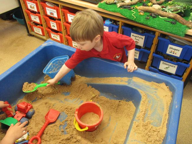 Creating a sandcastle!
