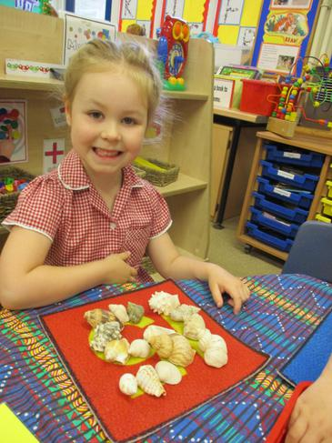 I can count out the correct number of shells!