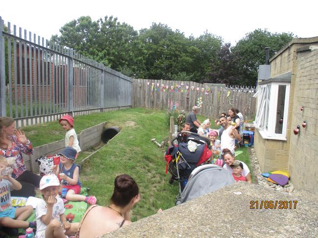Celebratory picnic in our Nursery Garden.