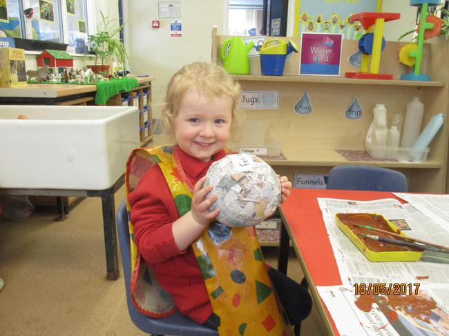 We used papier mache to make the dinosaur eggs.