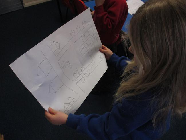 We followed a map to find different materials