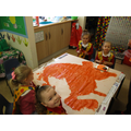 Whole class dinosaur painting!