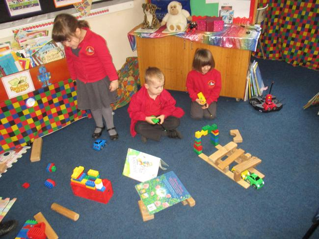 We made dark tunnels for the remote control cars