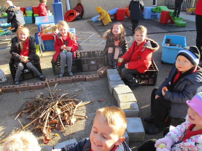We collected twigs and built a bonfire